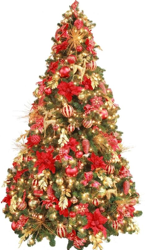 Fully Decorated Red Gold Pre Lit 7.5ft Christmas Tree - #Christmas - Fully Decorated Red Gold Pre Lit 7.5ft Christmas Tree - #Christmas