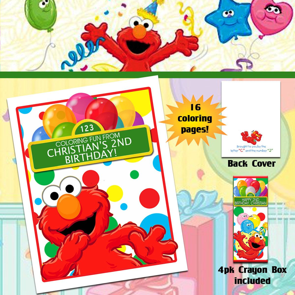 Elmo Sesame Street Coloring Book with Crayons by TotheTCreations on ...