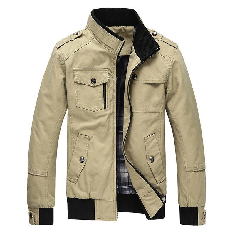 Men's Hot Fashion Military/Bomber-Style Stand-Up Collar Lightweight Lapel Jacket  Coat