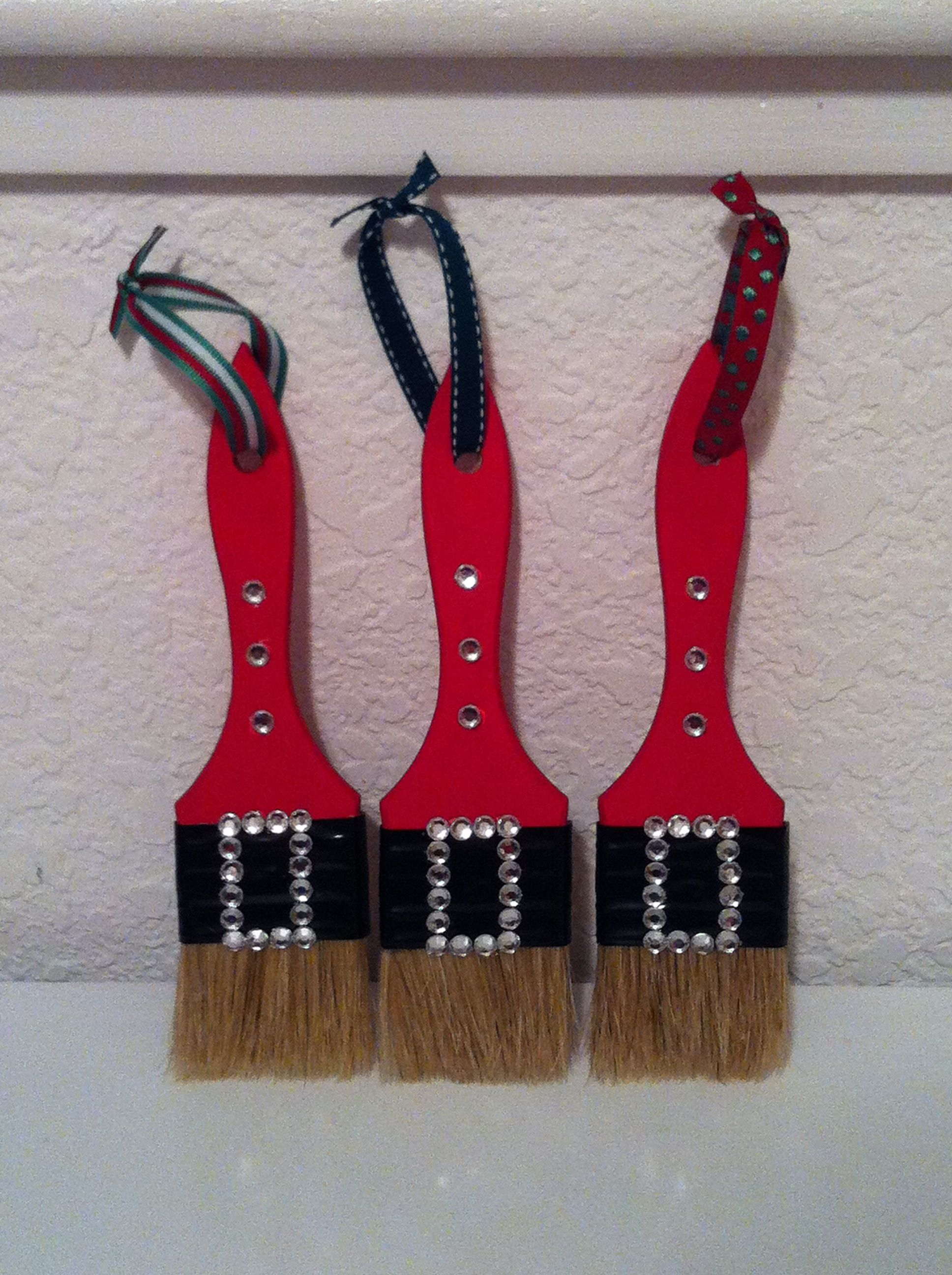 Santa Paint Brush Ornaments Christmas ornament crafts