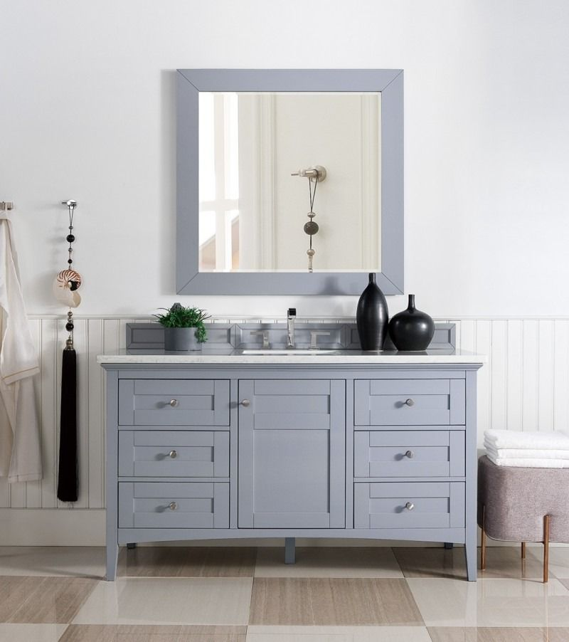 Palisades 60 Single Sink Bathroom Vanity Cabinet Silver Gray Finish Matching Mirror Transitio Single Bathroom Vanity Single Vanity Shaker Style Cabinets