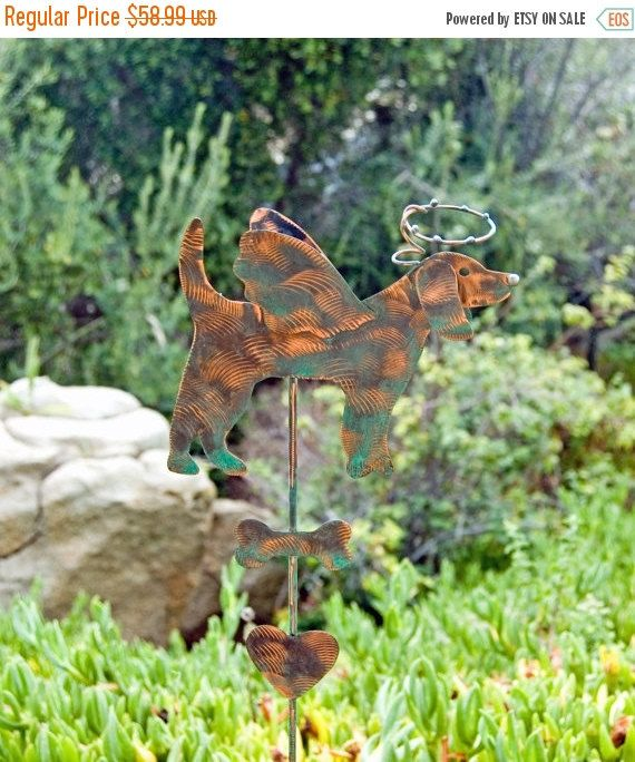 copper garden art. Beagle / Pet Memorial Grave Marker Garden Stake Metal Yard Art Copper