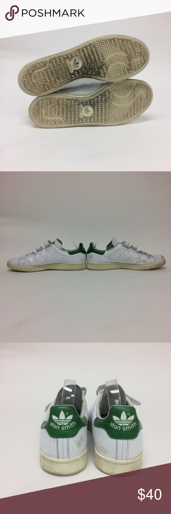 reputable site 671d8 e7660 Adidas Originals Stan Smith White Velcro Sneakers In good used condition.  Has few signs of wear as seen in pictures. adidas Shoes Sneakers