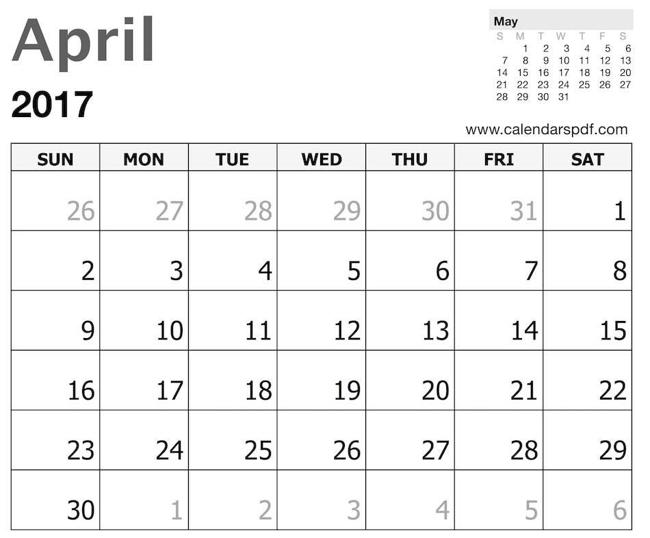 April 2017 Calendar Template Calendar Template Pinterest - holiday calendar template