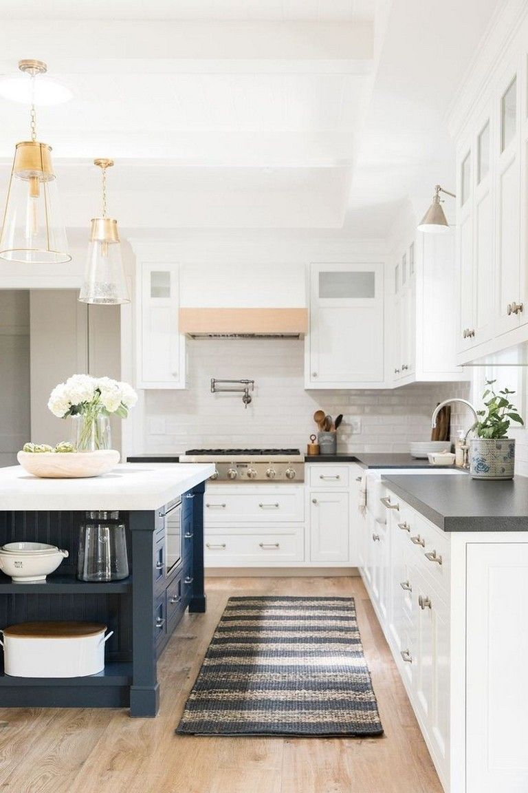 51 Lovely Kitchen Designs With A Touch Of Wood White Kitchen