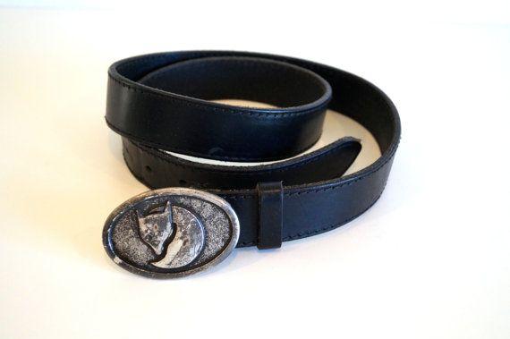 Rare Fox buckle belt Vintage Black genuine Leather by vintagdesign