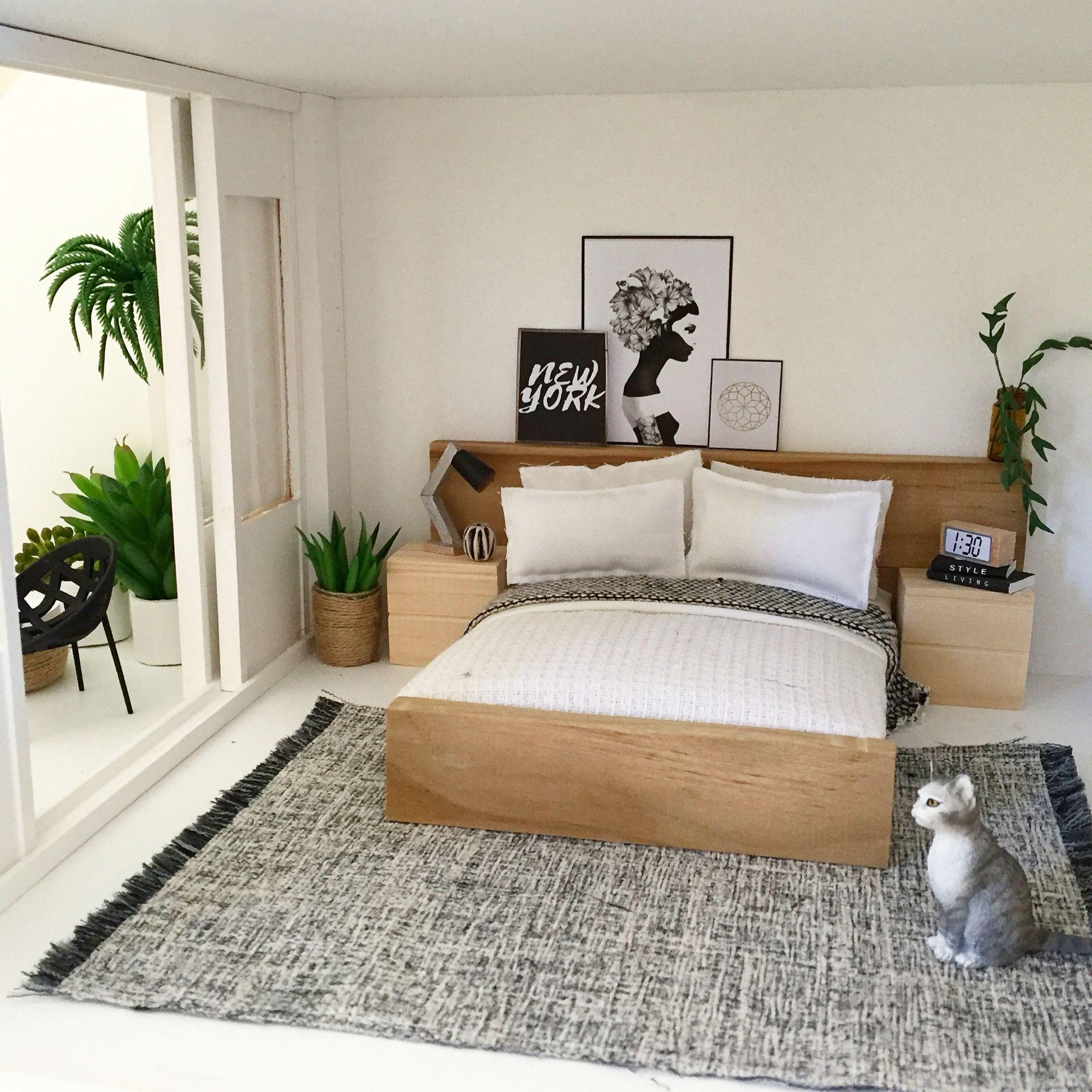 Modern miniature bedroom 1:12 scale dollhouse Follow me on ...