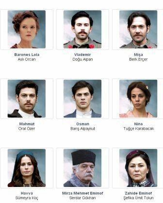 Part of the cast of Kurt Seyit ve Sura the Turkish TV series, 2014