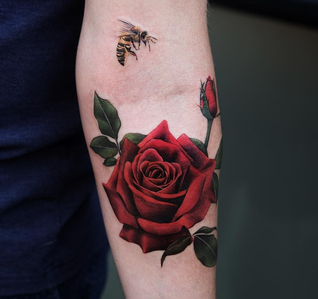 Rose Tattoos Flower: Red Rose And Bee By Joice Wang