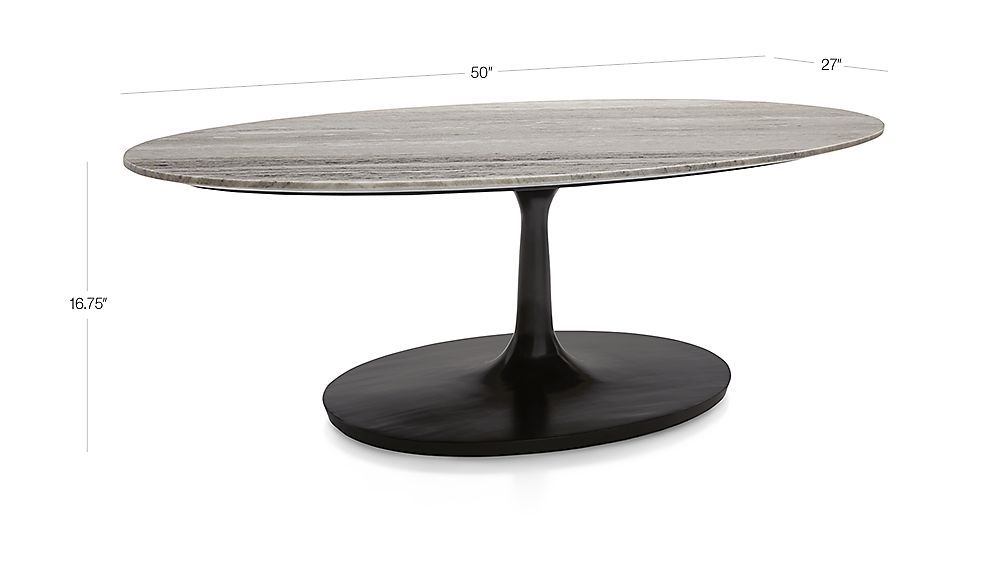 Image With Dimension For Nero Grey Marble Oval Coffee Table Oval