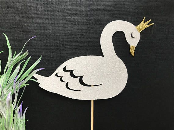 Sparkling Premium Double Sided Glitter Duckling BLACK Cupcake Topper Baby Shower