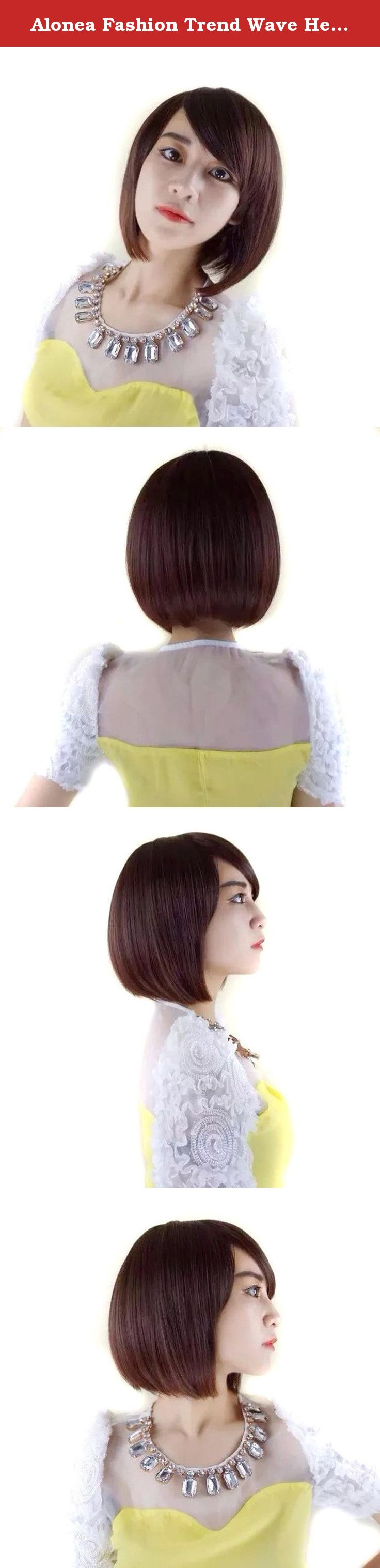 Alonea fashion trend wave head oblique bangs short hair wigs brown