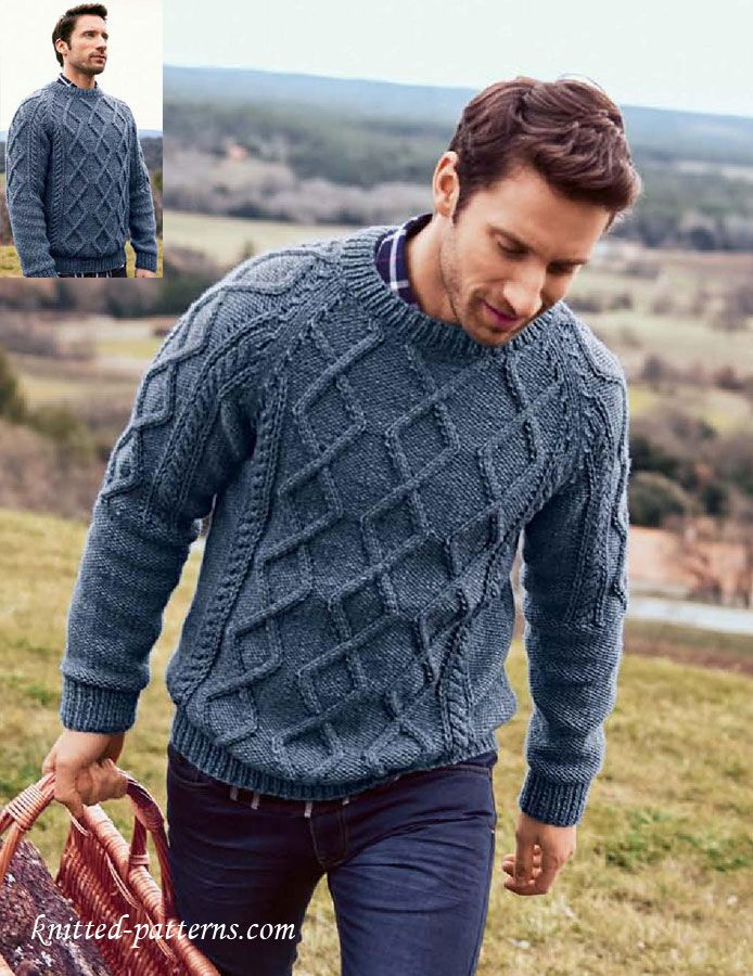 Free Knitting Patterns For Mens Cardigans : Mens Cable Sweater Knitting Pattern Free Free knitting patterns Pint...