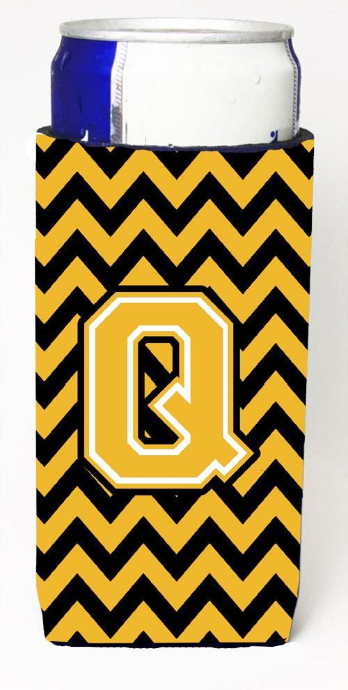 Letter Q Chevron Black and Gold Ultra Beverage Insulators for slim cans CJ1053-QMUK
