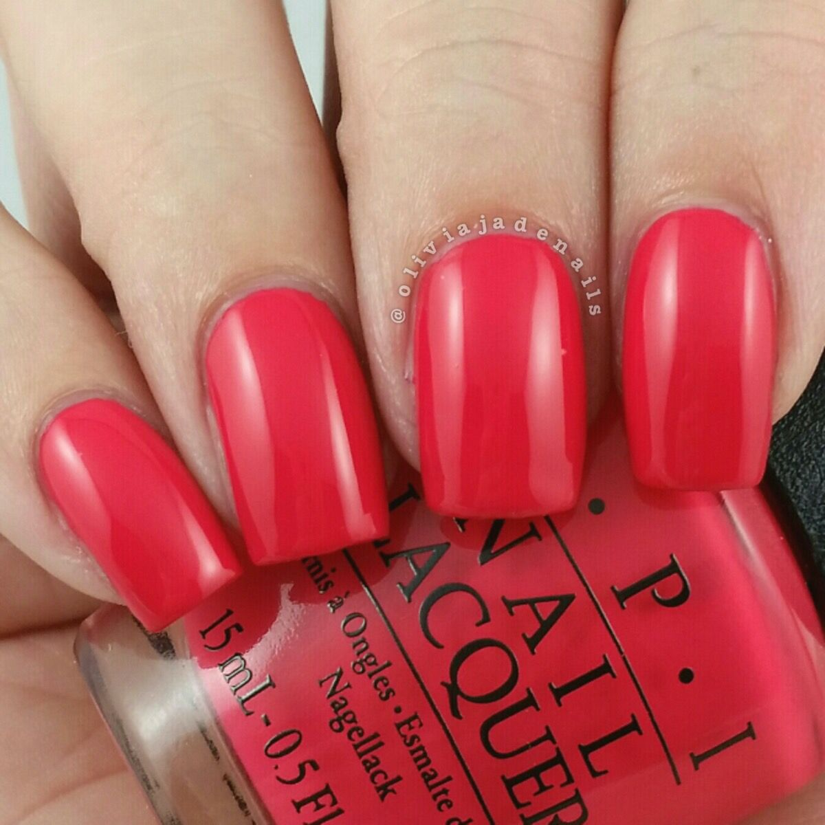 OPI Sheu0027s A Bad Muffuletta! Is A Hot Red Creme (with A Slight Coral