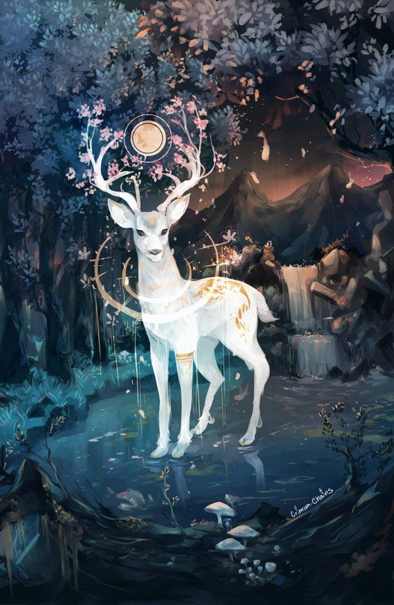 Fall Wooden Wallpaper Deer God Postcard Products In 2019 Fantasy Art Deer