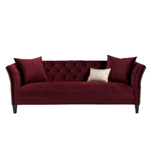 Maroon Velvet Clic Contemporary Sofa