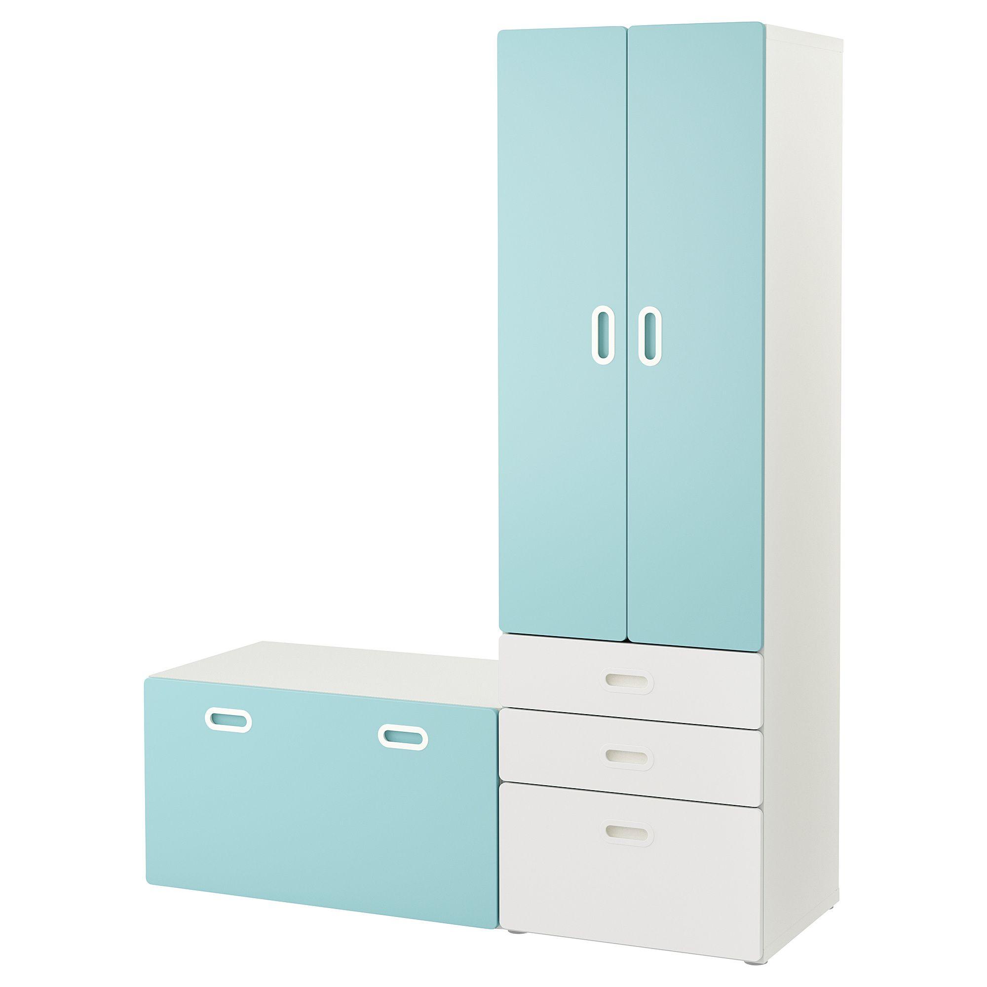 STUVA / FRITIDS Wardrobe with storage bench white, light