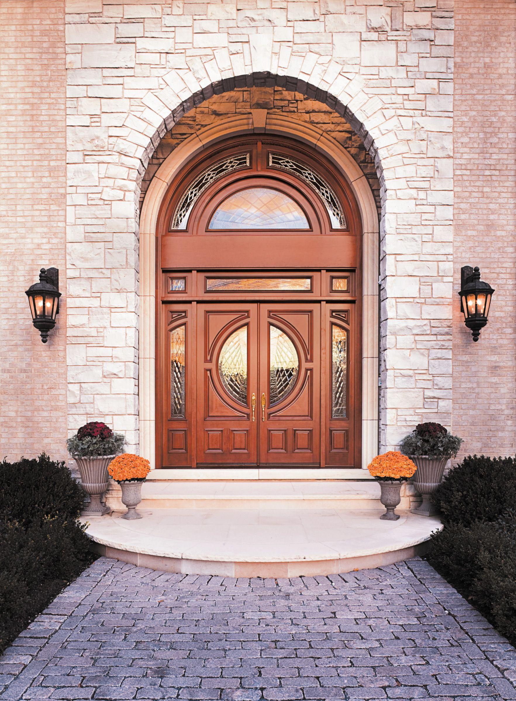Custom Wood Mahogany Double Entry Door Unit With