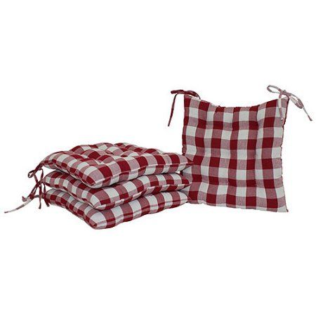 Mainstays Red Plaid Chair Pad Pack Of 2