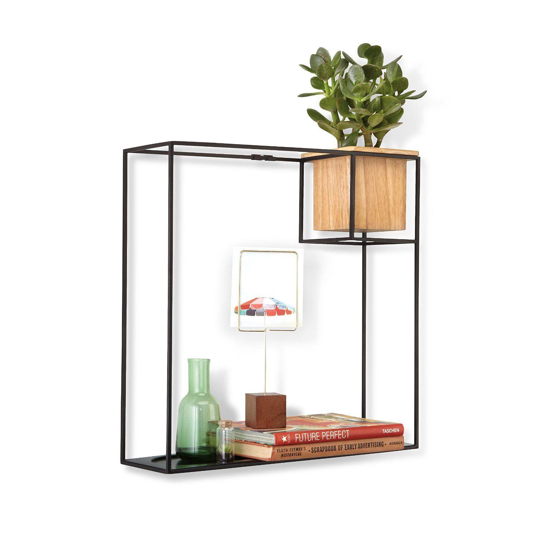 Amazon Com Umbra Cubist Wall Shelf Large Black Home