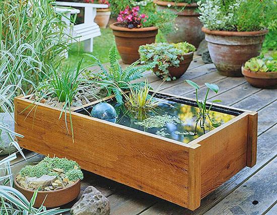 Water Garden In Square Planter   Great Home Interior