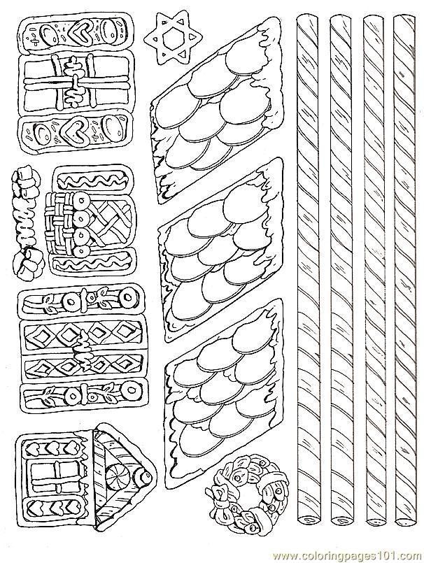 Free Printable Coloring Image Gingerbread House Pieces 2