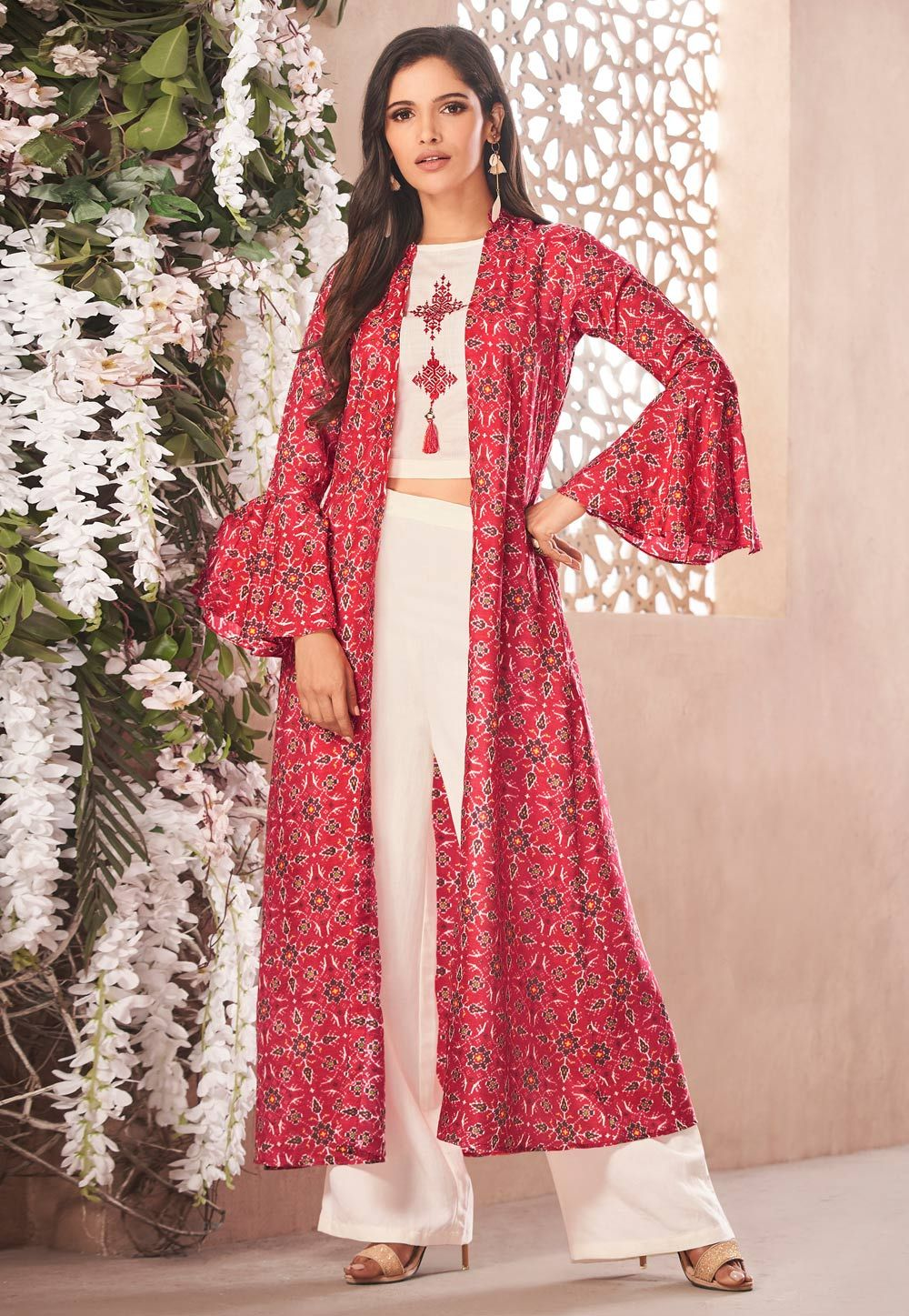 672ffeba0f Buy Off White Rayon Readymade Kameez With Palazzo and Jacket 157563 online  at lowest price from huge collection of salwar kameez at  Indianclothstore.com.