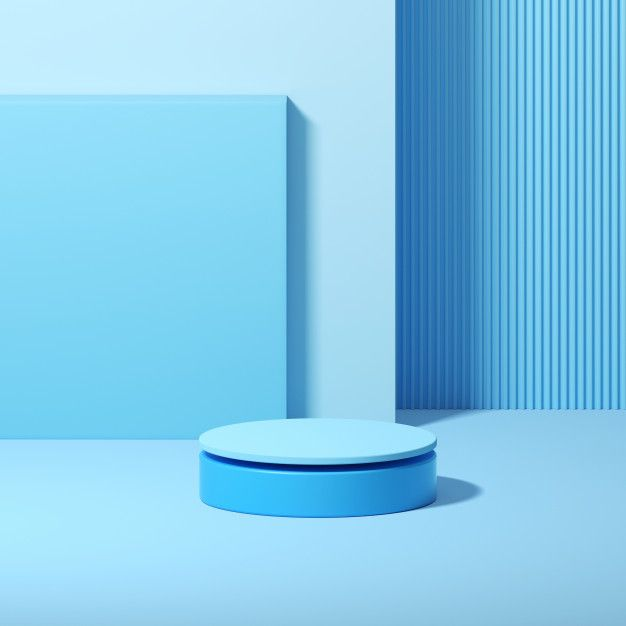 3d Rendering Of Geometrical Podium On Blue Background