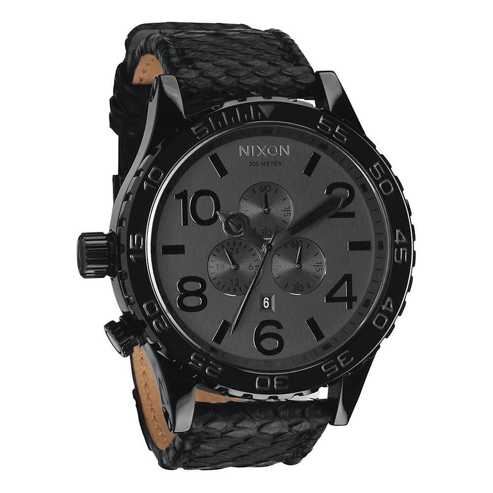 8c74742ee Reeds Jewelers - Nixon The 51-30 Chrono Leather Watch in Black Snake  500