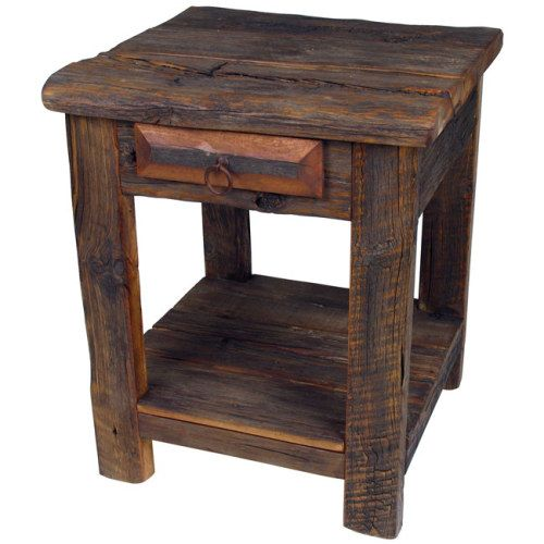 Old Wooden Table ~ Rustic old wood end table montana style refined