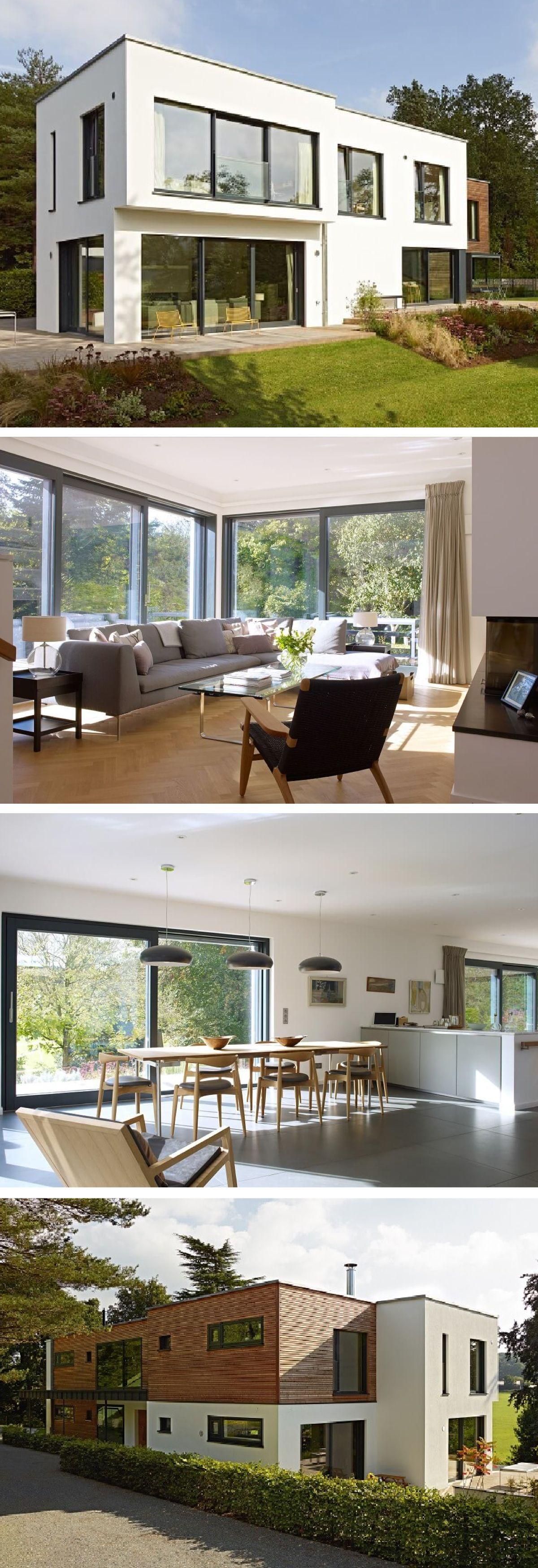 Design-Haus modern im Bauhausstil mit Flachdach und Holzfassade ...