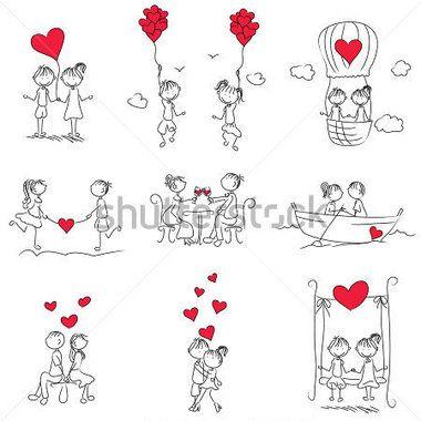 Doodle Couple Dessin Anime Avec En Forme De Cœur Rouge Idees