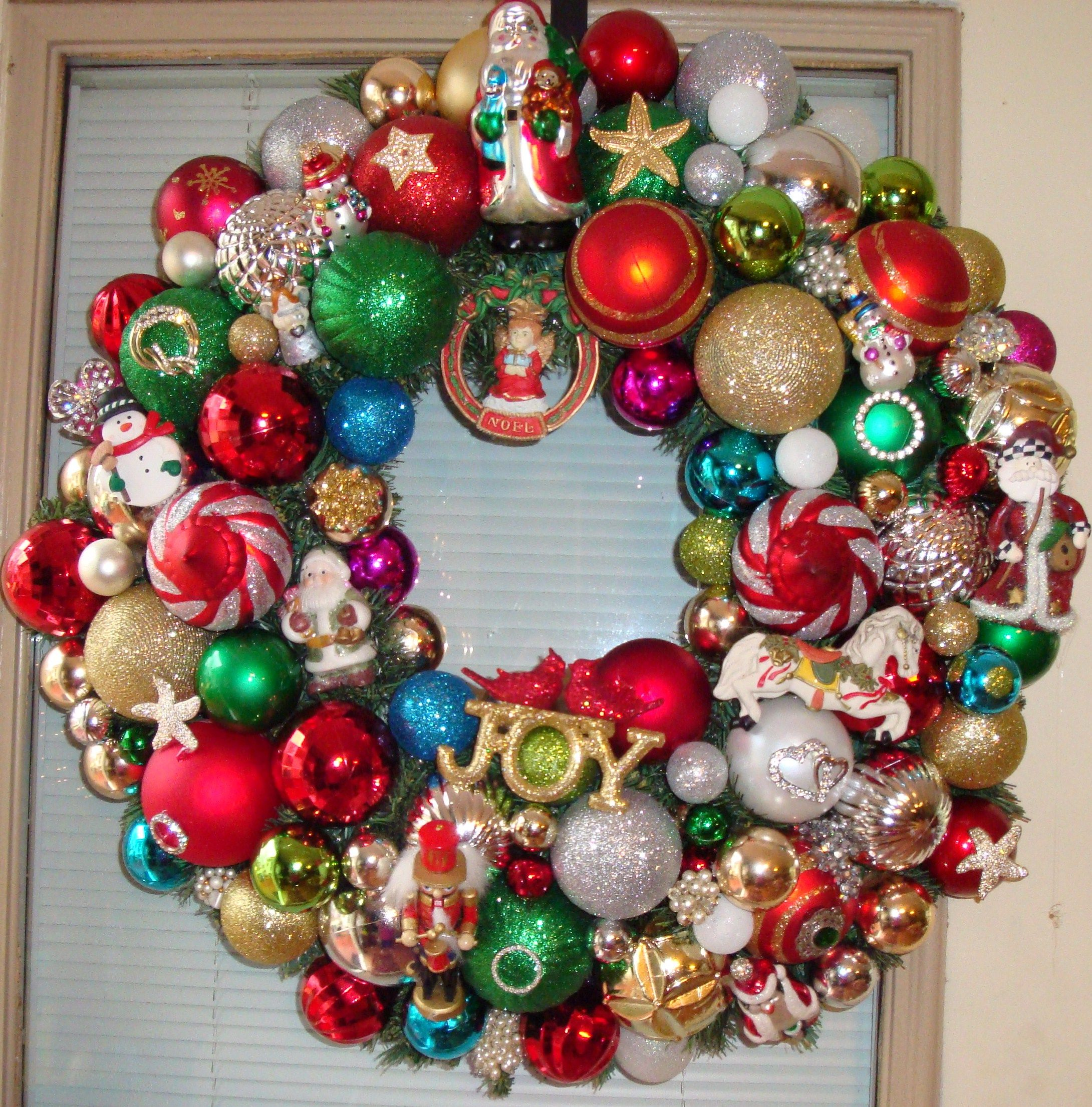 Christmas wreath made from old Christmas ornaments and misc. items ...
