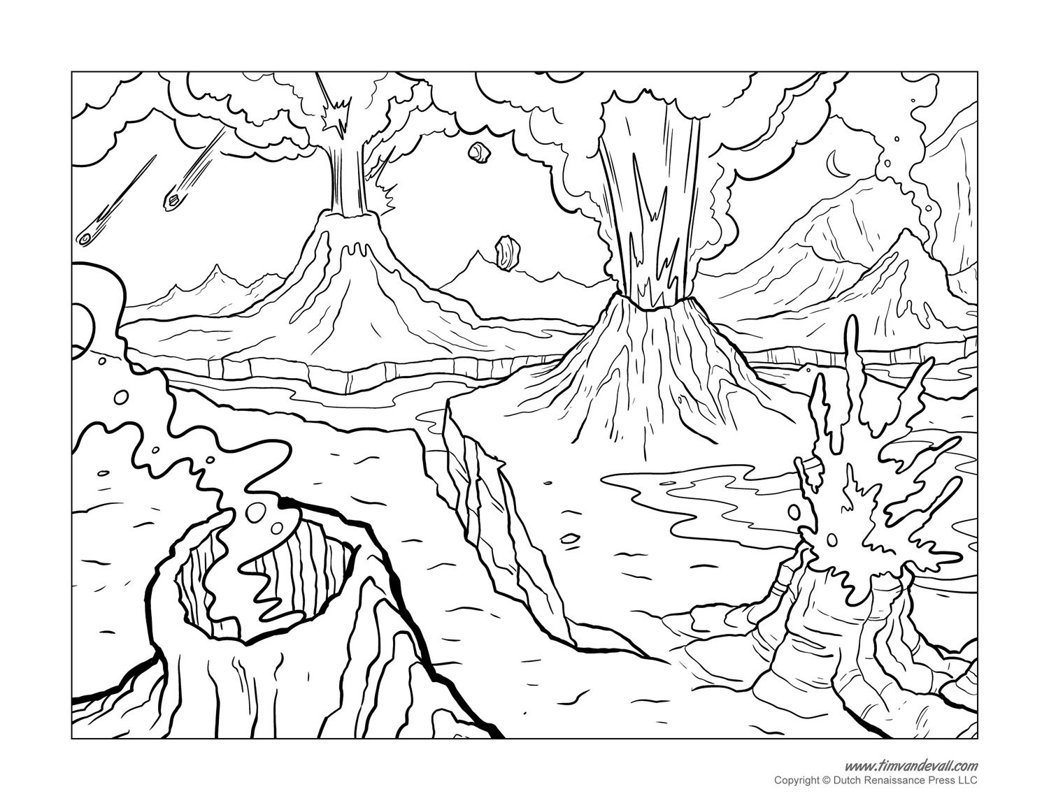 volcano coloring page - Language Arts Coloring Pages