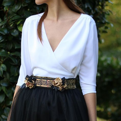 blusa cruzada de media manga para bodas