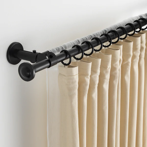 Ikea Storslagen Black Double Curtain Rod Set In 2020 Double