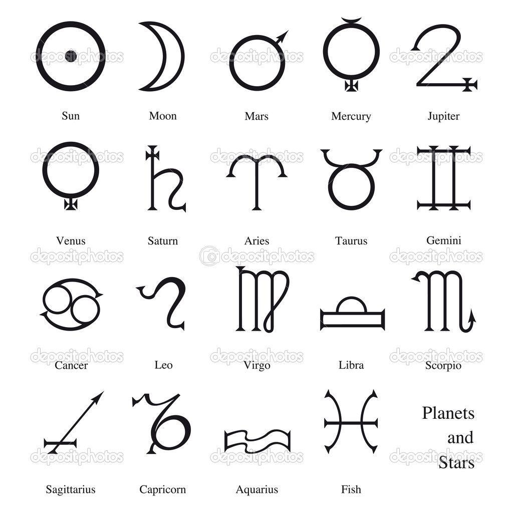 Astrological Symbols Astrological Symbols Stock Vector