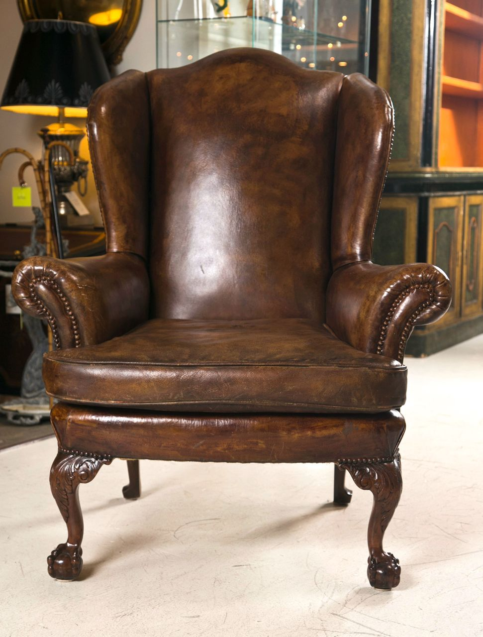 Decoration   Living Room Furniture With Antique Leather Wingback .
