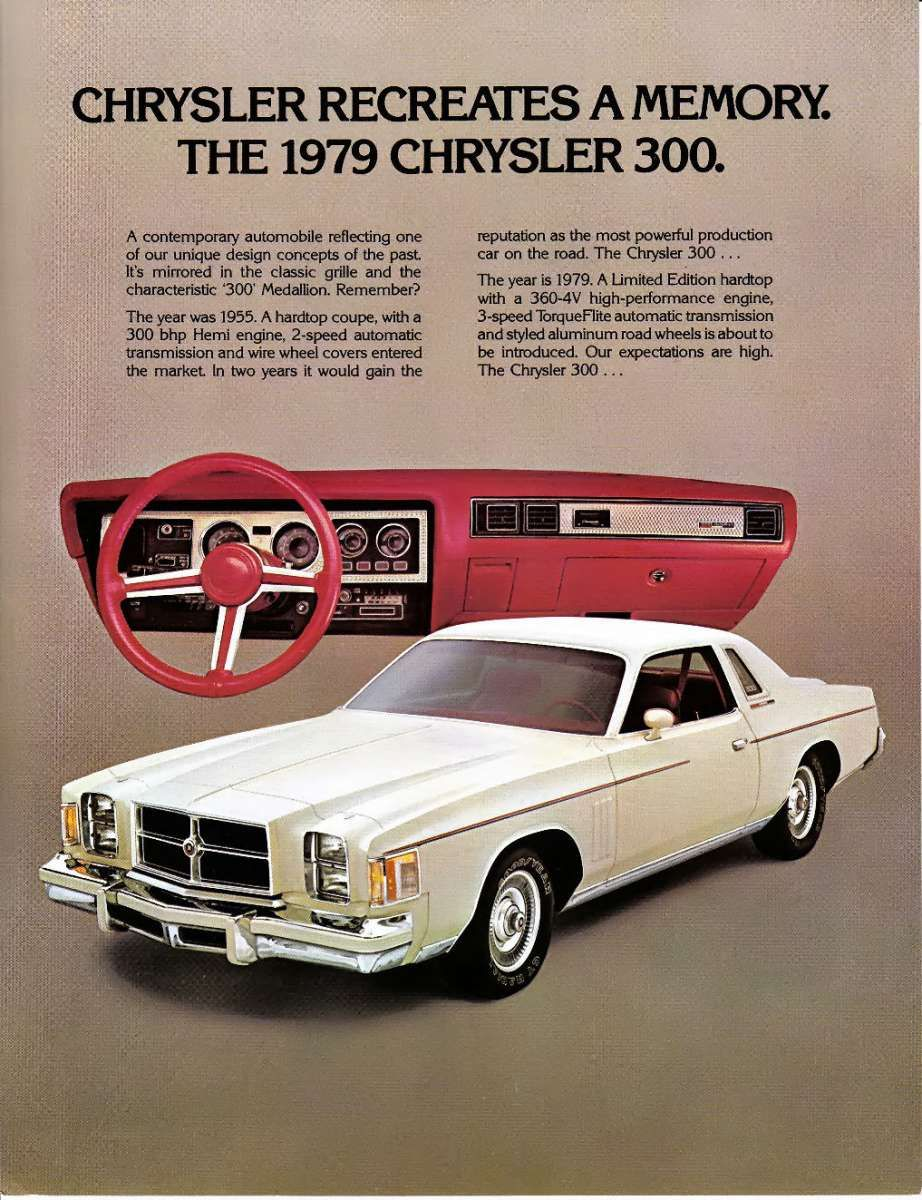 Cc Capsule 1979 Chrysler 300 Red White And Brougham Chrysler