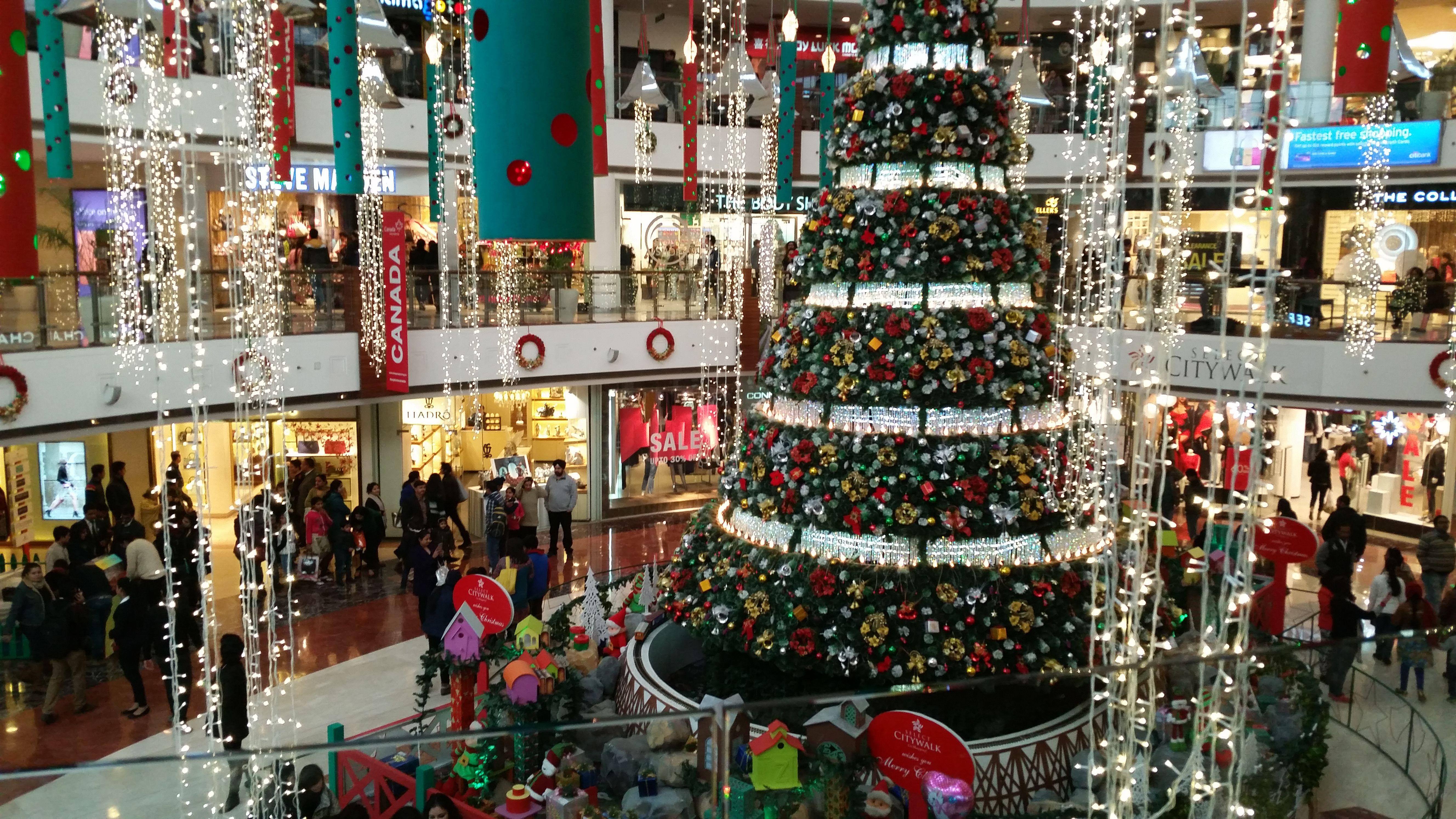 Fish aquarium market in delhi - 3 Floor High Christmas Tree At City Walk Mall Delhi