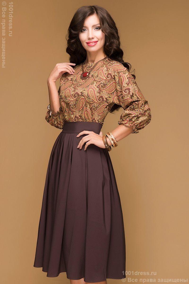 DM00234BR chocolate dress length MIDI with a printed top