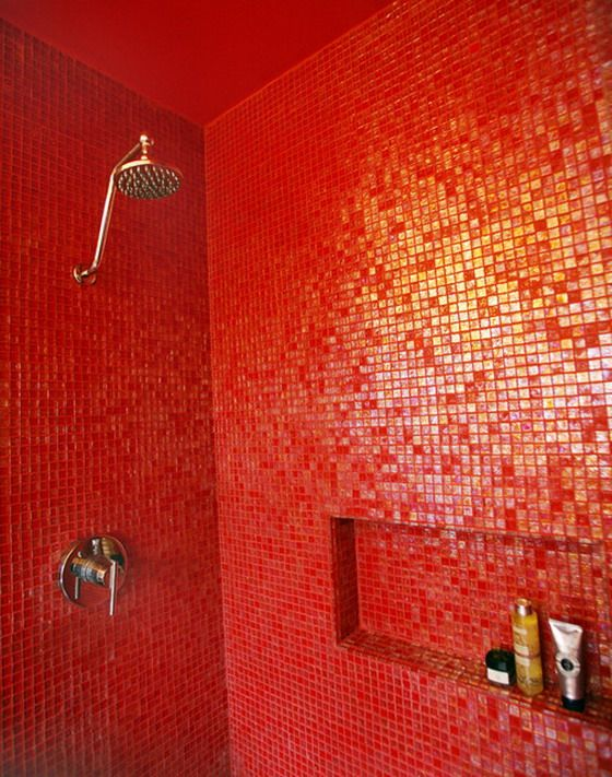 Bathroom With Small Red Wall Tiles