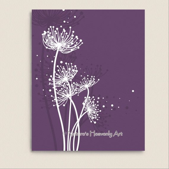 Purple Wall Decor Abstract Dandelion Art Print 8 X 10