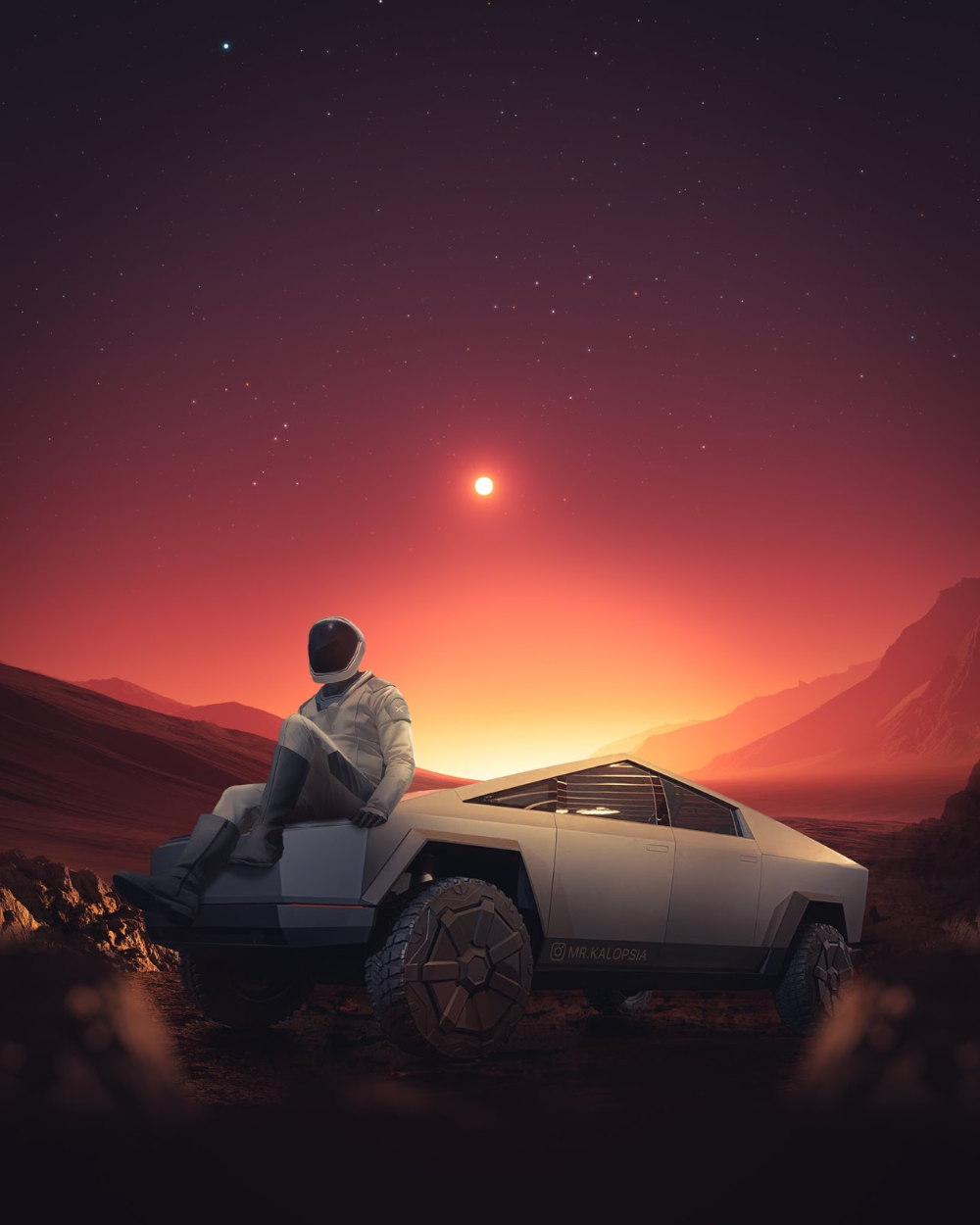 Starman resting at his Tesla Cybertruck on Mars by Eashan