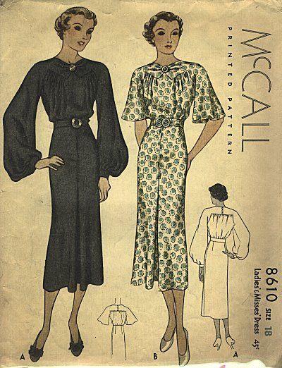 3d1ca0073 Vintage 1930s dress pattern | vestido | Moda, Vestidos y Ropa
