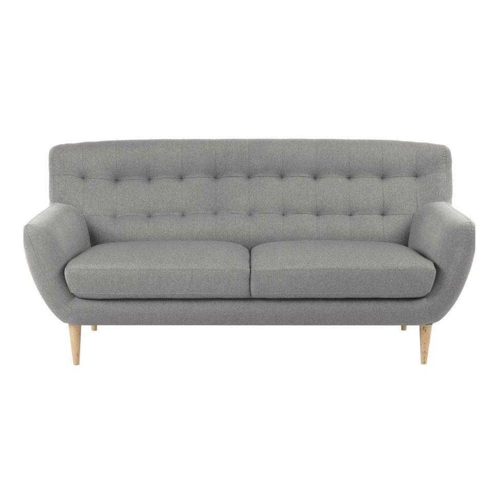 Sofa modern stoff  Sofa Hampen (3-Sitzer, Stoff, hellgrau) | Modern