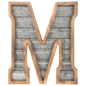 Wood & Galvanized Metal Letter Wood & Galvanized Metal Letter  M  Basement Family Room