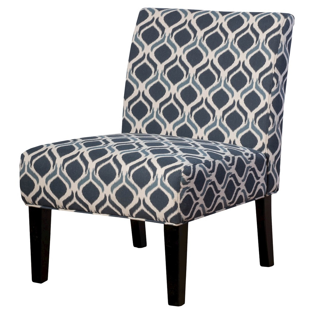 Best Saloon Fabric Print Accent Chair Blue Navy 400 x 300