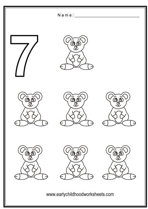Number 7 Worksheets Coloring Number 7 Animal Themes